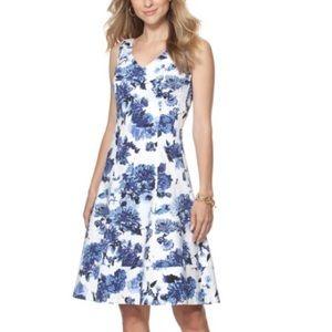 Chaps floral spring dress blue 4
